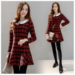 Angel Shine - Long-Sleeved Peter Pan-Collar Plaid Dress