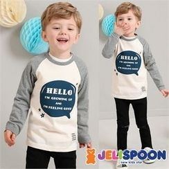 JELISPOON - Boys Contrast Raglan-Sleeve Lettering T-Shirt