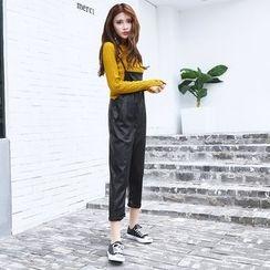 Hola - Faux-Leather Suspender Pants