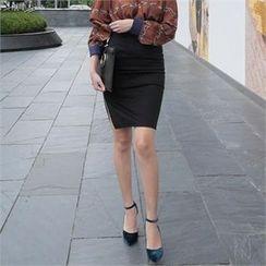 LIPHOP - Slit-Side Pencil Skirt