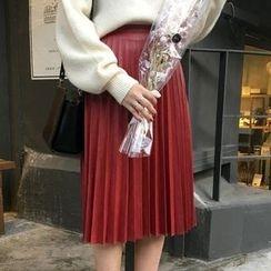HALOLALA - Pleated Faux Leather Midi Skirt