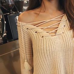 DABAGIRL - Tasseled Lace-Up Neck Sweater
