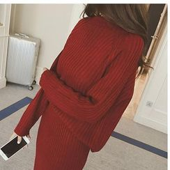 Sienne - Set: Ribbed Knit Top + Long Knit Skirt