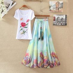 Clementine - Set: Flower Embroidered Short Sleeve T-Shirt + Printed Chiffon Midi Skirt