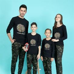 Panna Cotta - Tree Print Long Sleeve Family Matching T-Shirt