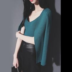 Sonne - Set: V-Neck Sleeveless Knit Top + Open-Front Knit Jacket