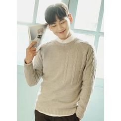 JOGUNSHOP - Crewneck Cable-Knit Sweater