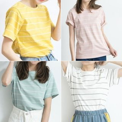 BAIMOMO - Short-Sleeve Striped T-Shirt