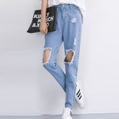 Isadora - Distressed Washed Jeans