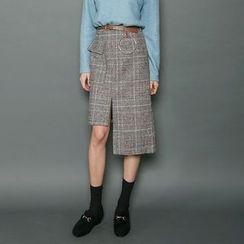 Envy Look - Asymmetric-Hem Skirt with Belt