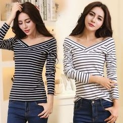 Yvette - Striped V-Neck Long-Sleeve T-Shirt