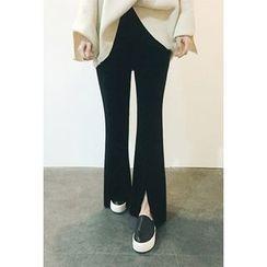 ATTYSTORY - Slit-Front Boot-Cut Pants
