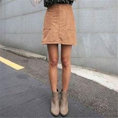 QNIGIRLS - Faux-Suede A-Line Skirt
