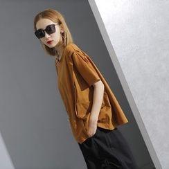 Sonne - 高腰拼布宽松短款T恤