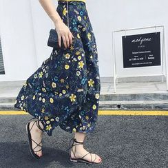 EFO - Tie-Waist Floral Maxi Chiffon Skirt