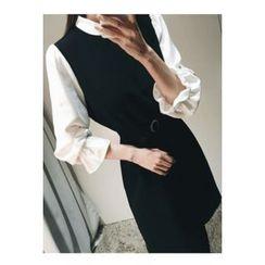 ATTYSTORY - Inset Shirt A-Line Dress With Belt