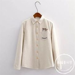 PANDAGO - Embroidered Striped Shirt