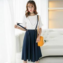 Colorful Shop - Suspender A-Line Skirt