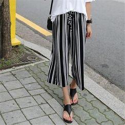 CHICFOX - Striped Wide-Leg Cropped Pants