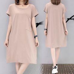 巧妮儿 - 纯色短袖T恤裙