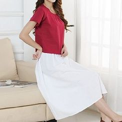 Katie Bloom - Set: Two-tone Short-Sleeve T-shirt + Skirt