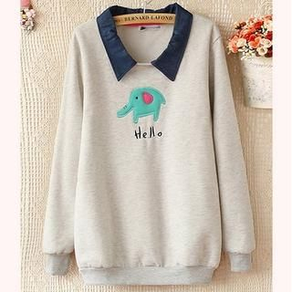 Ringnor - Denim-Collar Elephant-Appliqué Pullover