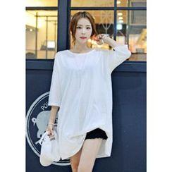 DEEPNY - White Mini T-Shirt Dress (2 Design)
