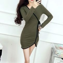 Silkfold - Piped Wrap-Front Bodycon Dress