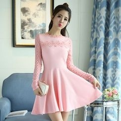 Emeline - Crochet Trim Long-Sleeve A-Line Dress