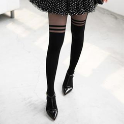 59 Seconds - Striped Mock Hold Up Tights