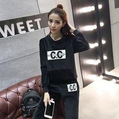 lilygirl - 套裝: 植毛絨套衫 + 運動長褲