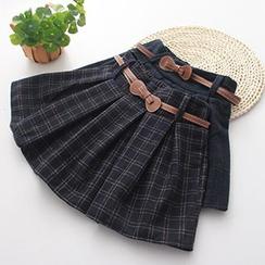 Dia Monde - Plaid Pleated Mini Skirt