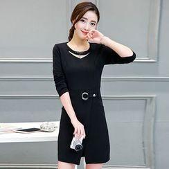 lilygirl - Slit-Front Long-Sleeve Sheath Dress
