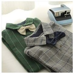 Rosadame - 格子襯衫連蝴蝶結領帶