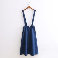 Ainvyi - Denim Midi Suspender Skirt