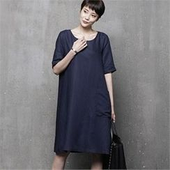 HALUMAYBE - Short-Sleeve Shift Dress
