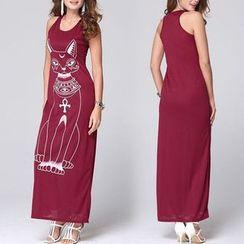 LIVA GIRL - Cat Print Sleeveless Dress