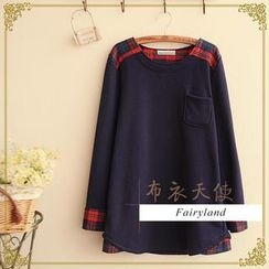 Fairyland - Plaid Panel Long-Sleeve Top