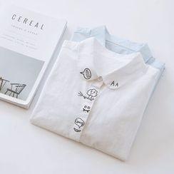 布丁坊 - 印花长袖衬衫