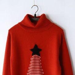 布丁坊 - 圣诞树高领毛衣