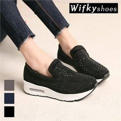 Wifky - Beaded Faux-Fur Lined Slip-Ons