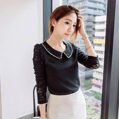 Tokyo Fashion - Beaded-Collar Lace-Panel Blouse
