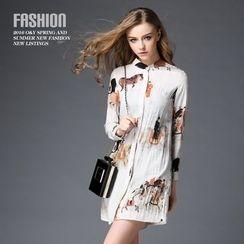 Ozipan - Long-Sleeve Printed Shirtdress