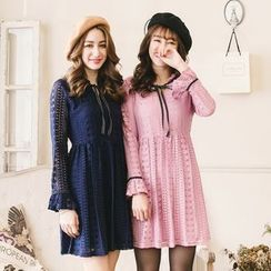 Tokyo Fashion - Long-Sleeve Tie-Neck Lace Dress