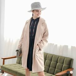 OrangeBear - Woolen Notched Lapel Longline Coat