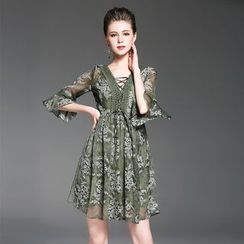 Ozipan - Lace-Panel Printed A-Line Dress