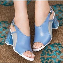 Romantina - Block Heel Peep-toe Sandals