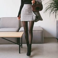 DABAGIRL - Herringbone Wool Blend Mini Skirt