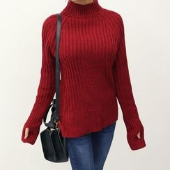 DANI LOVE - Mock-Neck Rib-Knit Sweater