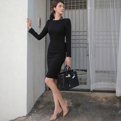 Eleganza - Long-Sleeve Ruffle Sheath Dress